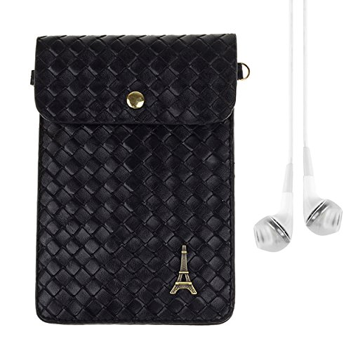 Vertical Universal Braid PU Leather Slim Mini Pouch Wallet Purse Clutch Bag for Most Smartphone up to 6 Inch with Vangoddy Stereo Earphone, Black