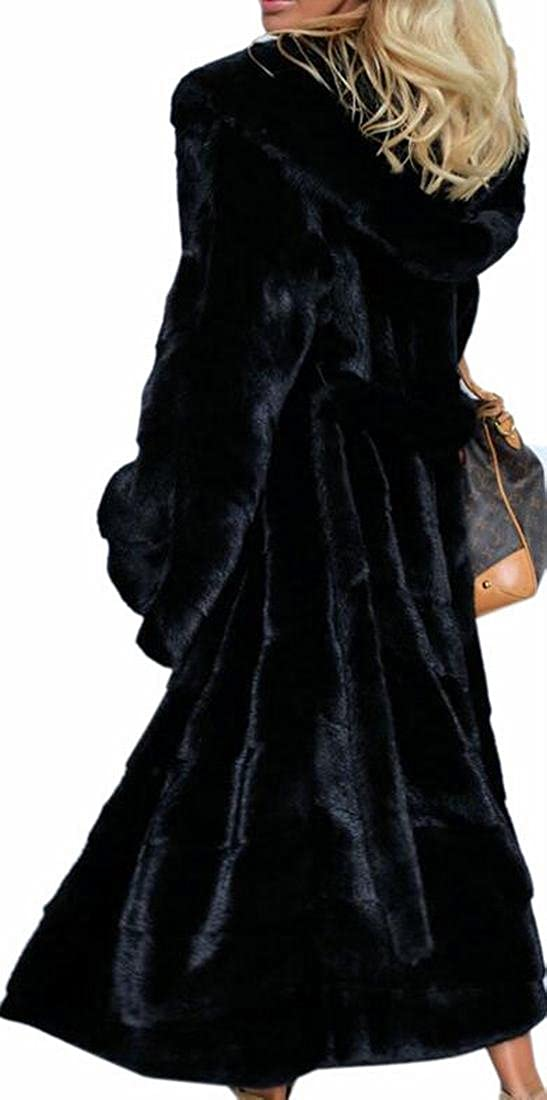 ONTBYB Women Winter Long Faux Fur Coat Jacket Thick With Hooded Trench Coat