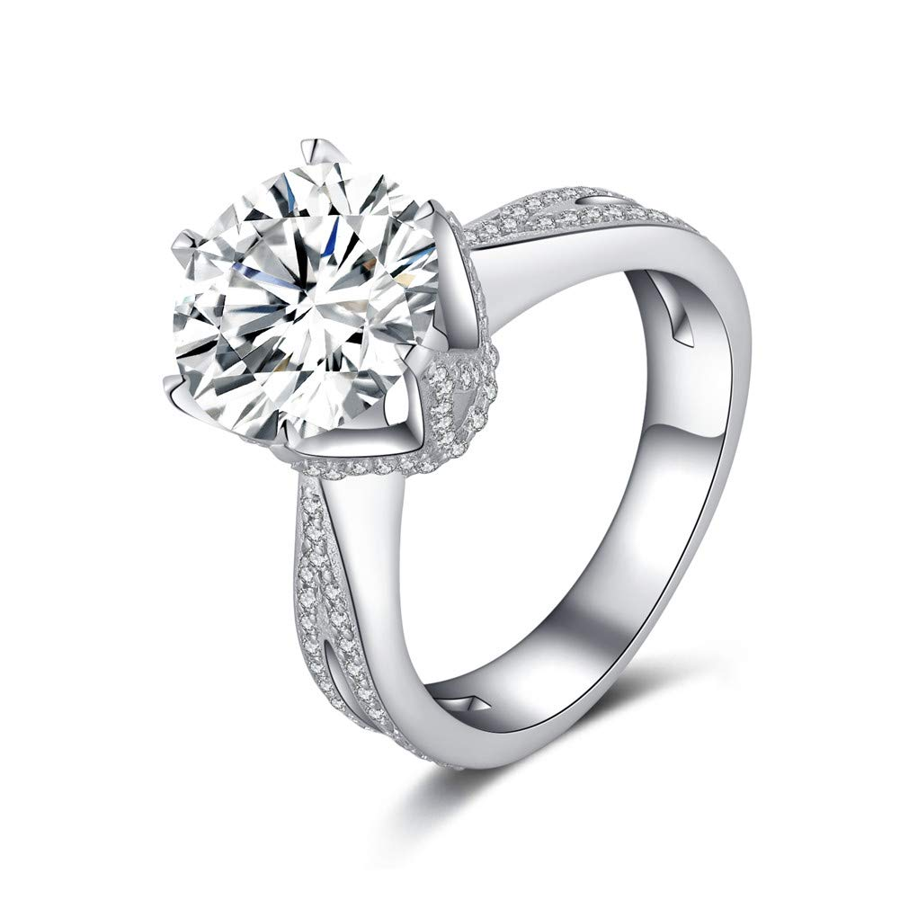 Erllo 925 Sterling Silver 4 Carat Center Cubic Zirconia Round Brilliant Shape Wedding Ring Rhodium Plated Silver 6 Prong Solitaire Simulated Diamond Engagement Ring (7.5) by Erllo