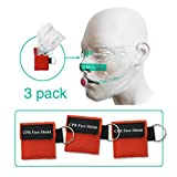 VViViD Emergency Rescue CPR Mask Featuring One-Way Barrier Valve 3 Pack