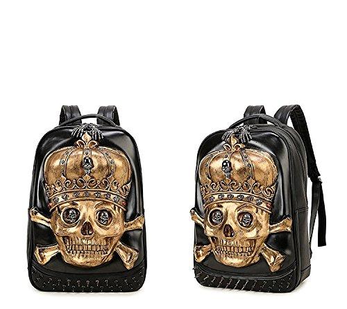 3D calidad bolso 35L alta Hombres 20 de de PU computadora cráneo de viaje de animal portátil mochila mochila Gold la la realista Rwgq0xPEq