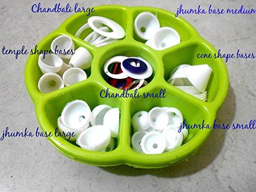 (GOELX Plastic Jhumka Base Kit Gift Box Includes- Jhumka Base Large, Medium And Small, Chandbali Small And Large, Cone Shape Bases And Temple Shape Bases And Many More)