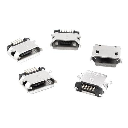 5 Piezas Micro USB Tipo B Hembra 180 Degree 5 Pin Montaje Superficial SMD de Soldadura