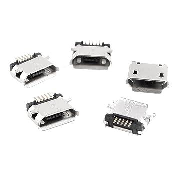 5 Piezas Micro USB Tipo B Hembra 180 Degree 5 Pin Montaje Superficial SMD de Soldadura Jack: Amazon.es: Electrónica