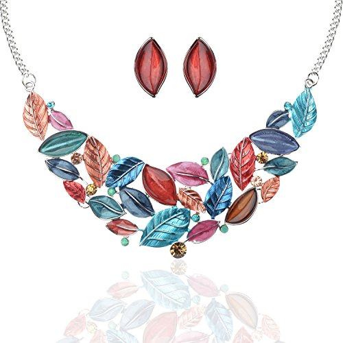 - Ginasy Multicolored Leaf Design Statement Necklace and Stud Earrings Set 15.55