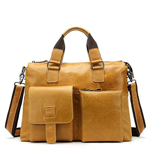 LCLiang Mens Genuine Leather Bag Leisure Business Handbag Layer Cowhide Male Shoulder Bag Messenger Bag Color : Yellow-Brown