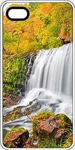 Otoño colores montaña cascada blanco goma decorativa iPhone 5C caso