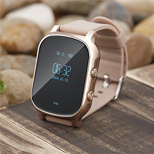 Kids Smart Watch GPS Tracker Wrist Watch Anti-Lost SOS Call Location Finder Geo-Fence Elderly Pedometer Functions Real-time Tracking by iPhone and Android Smartphones APP T58 (Gold) by TKSTAR