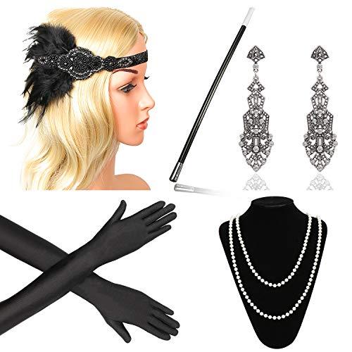 Beelittle 1920s Accessories Headband Earrings Necklace Gloves Cigarette Holder (F7)
