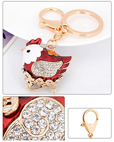 leomoste Shiny Crystal Diamond Keyring Cute Cartoon Chick Keychain Mini Bag Decoration Creative Gift for Girls and Women by leomoste (Image #3)