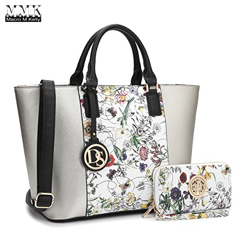 MMK collection Women Fashion Matching Satchel handbags with walle(6417)t~Designer Purse with Wristlet Wallet (6417W-Silver/White)