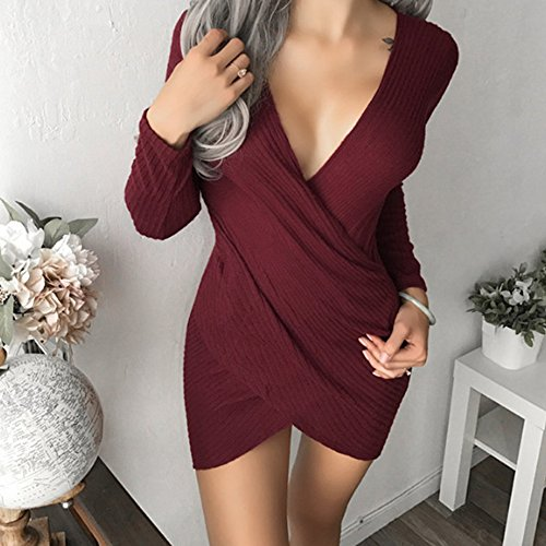Crayon Rouge en Robe Slim Vin V Col Portefeuille Soire Femmes Youthny Profond wtFOxqSwP