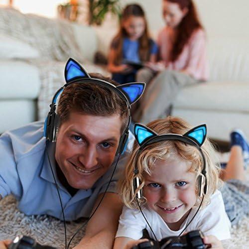 Limson Auriculares para Niños con Orejas de Gato, Auriculares ...