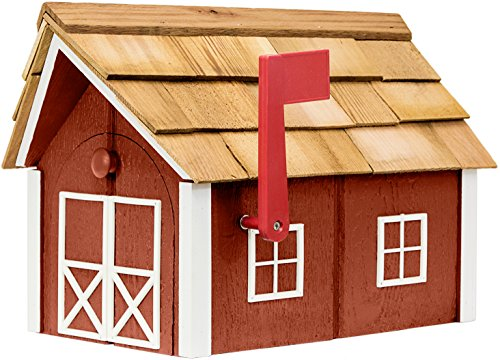Painted Amish Mailbox with Cedar Roof and Windows & Door Trim (Red with White Trim)