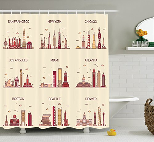 Ambesonne Apartment Decor Collection, American Cities San Francisco New York Chicago Los Angeles Miami Silhouette Print, Polyester Fabric Bathroom Shower Curtain Set with Hooks, Cream Coral