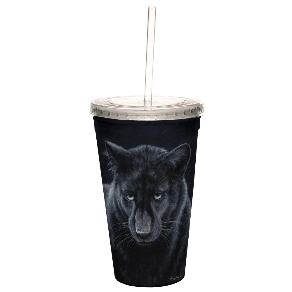 Tree-Free Greetings CC35698 Cool Cups, Double-Walled Pba Free with Straw and Lid Travel Insulated Tumbler, 16 Ounces, Black Panther