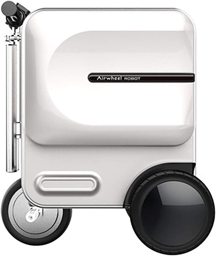 Aszhdfihas-travel Maleta Trolley Vespa eléctrica Plegable de la Maleta de la Carretilla retráctil portátil Inteligente Vespa Maleta 29.3L Ligero (Color : Blanco, tamaño : 48.9×36.5×58CM)