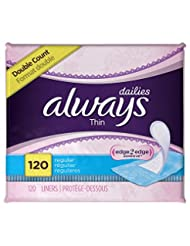 Always Thin Dailies Unscented Wrapped Liners, Regular, 120 Co...