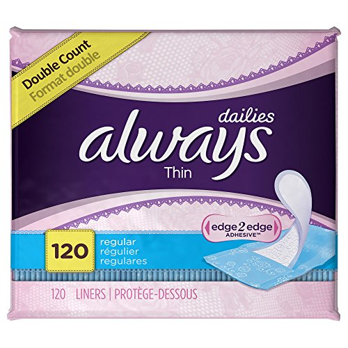 Always Thin Dailies Unscented Wrapped Liners, Regular, 120 Count (Pack of 2)