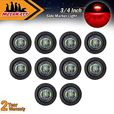 Meerkatt (Pack of 10) 3/4 Inch Mini Round Smoked Lens Red LED Button Side Marker Clearance SMD Lamp Bullet Super Bright Indicator Light Caravan Ferry Boat RV Truck Trailer grommets 12V DC Waterproof: Automotive
