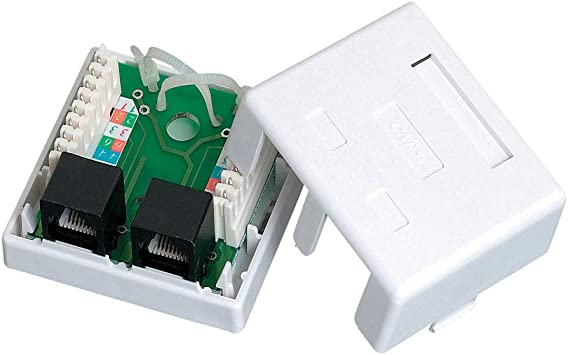 Quest nsb-5130 Cat5e Caja de Montaje en Superficie Dual RJ45 8P8 C Cargado Blanco: Amazon.es: Electrónica