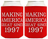 Republican Gifts for 21st Birthday Making America Great Since 1997 21st Birthday Gag Gifts for Republican Party 2 Pack Can Coolie Drink Coolers Coolies Red