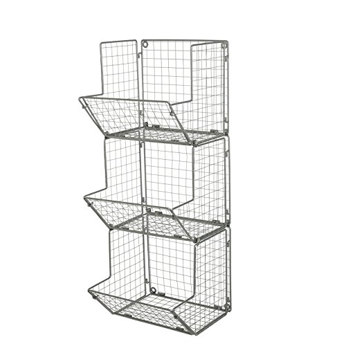 MyGift 3-Tier Gray Metal Wire Wall Mounted Kitchen Produce Fruits Bin Rack, Bathroom Towel Storage Baskets by MyGift (Image #2)