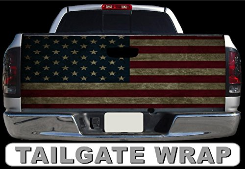 T192 DISTRESSED AMERICAN FLAG TAILGATE WRAP Vinyl Graphic Decal Sticker F150 F250 F350 Ram Silverado Sierra Tundra Ranger Frontier Titan Tacoma 1500 2500 3500 Bed Cover tint image