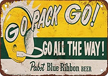 1961 Packers and Pabst Blue Ribbon Beer Vintage Look Reproduction Metal Tin Sign 12X18 Inches