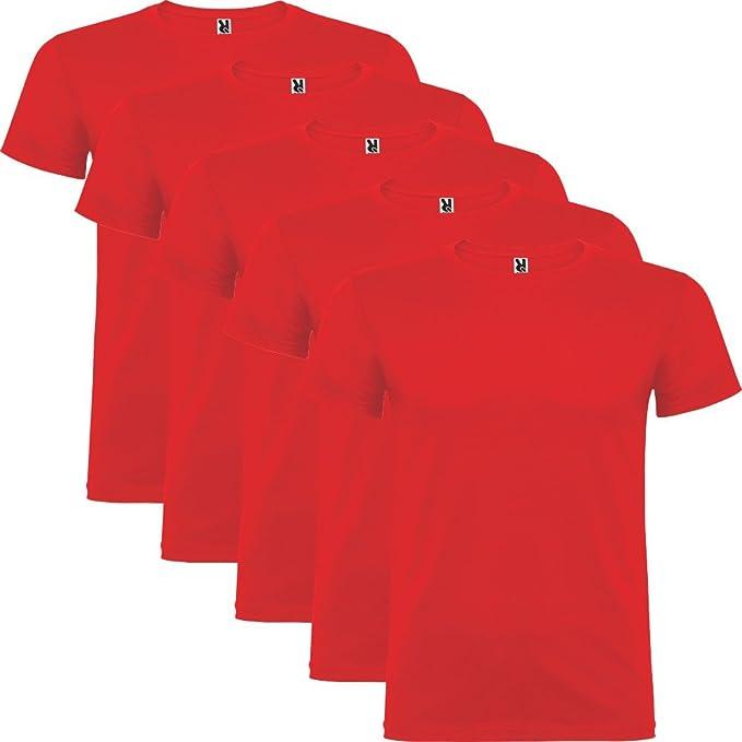 Dalim Pack de 5 Camisetas Rojas para Hombre, 100% Algodón, Beagle (S