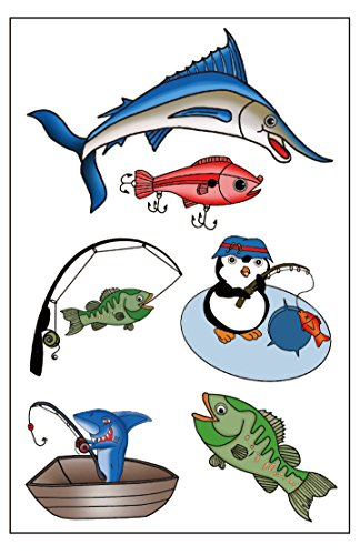 Premium Fishing Temporary Tattoos, Party Favors