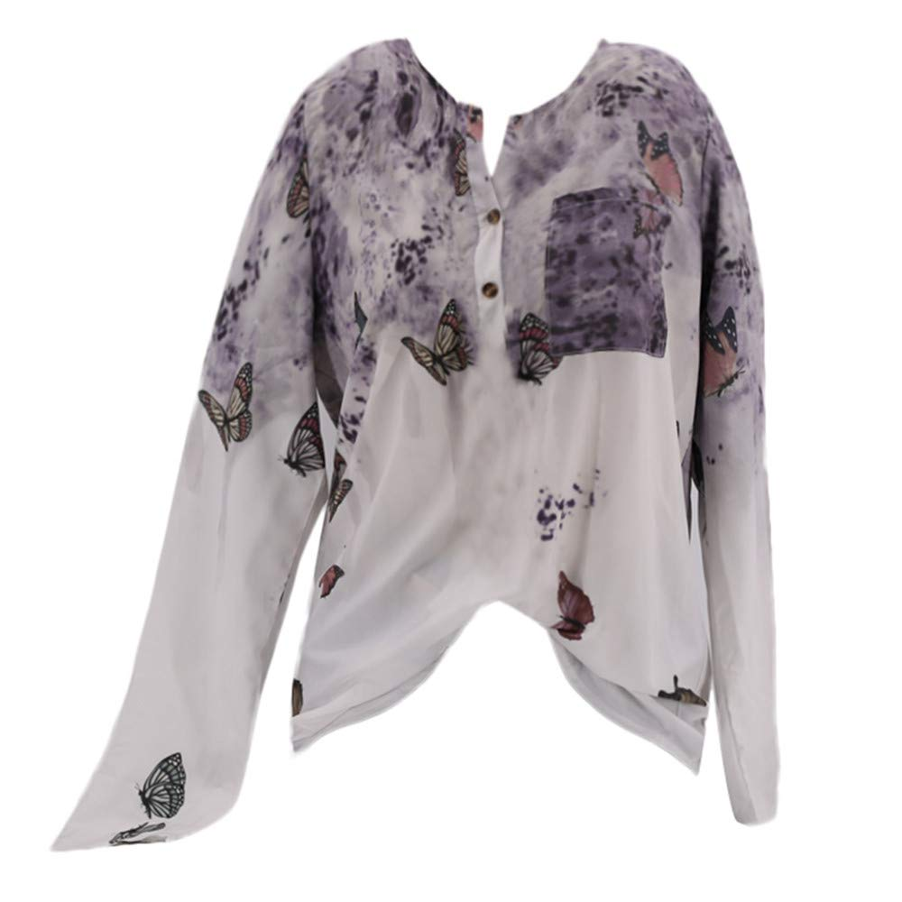 Lowprofile Women Butterfly Chinese Style Ink Printed T Shirt,Button & Pocket,Autumn Basic Top Blouse Lowprofile T Shirt