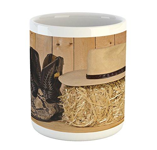 Western Mug by Ambesonne, Snake Skin Cowboy Boots Timber Pla