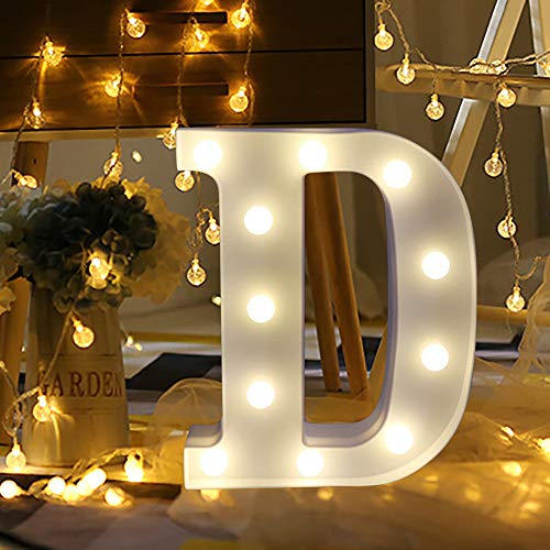 Cuekondy Clearance!Remote Control Alphabet LED Letter Lights Light Up White Plastic Letters Standing Hanging for Home Party Wedding Halloween Christmas Festival Decoration (D, 22cm/8.7
