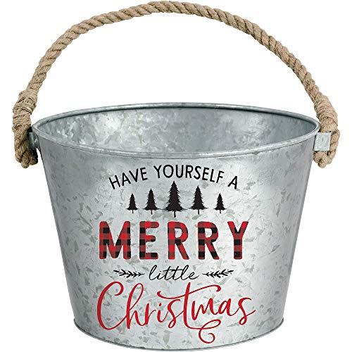 Amscan Merry Little Christmas Galvanized Bucket, Christmas Decorations, 10 dia. x 7 H
