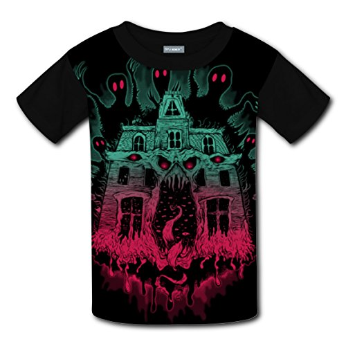Ghost House T-shirts Tee Shirt for Kids Tops Costume Round Black S - Good Movie Couple Costume Ideas
