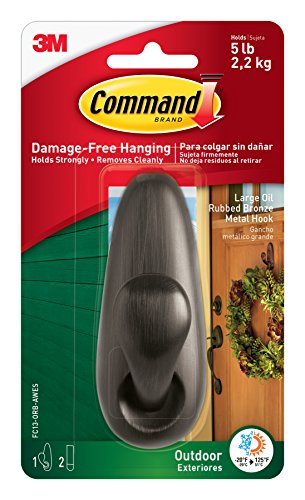 Command Outdoor Forever Classic Metal Hook, Large, Oil Rubbed Bronze, 1-Hook with Foam Strips (FC13-ORB-AWES)