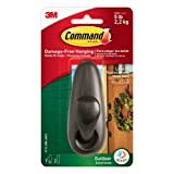 Command FC13-ORB-AWES Outdoor Forever Classic Oil Rubbed Bronze Metal Hook with Foam Strips, 1-Hook and 2-Strips