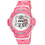 Cute Wristwatch Chronograph Watches with Week Day Date for Girls Pink