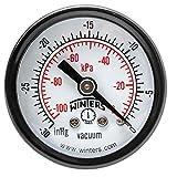 Winters PEM Series Steel Dual Scale Economy Pressure Gauge, 30''Hg Vacuum/kpa, 1-1/2'' Dial Display, +/-3-2-3% Accuracy, 1/8'' NPT Center Back Mount