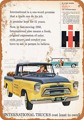 Wall-Color 10 x 14 Metal Sign - 1958 International Truck Travelall and Custom Pickup - Vintage Look ()