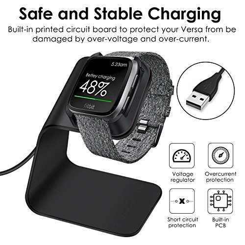 CAVN Compatible Fitbit Versa Charger Dock Stand Cable, Premium Aluminum Charging Cable Cord Station Cradle Base Attached 4.2ft USB Cable Accessories Compatible Fitbit Versa Smartwatch, Black by CAVN (Image #1)