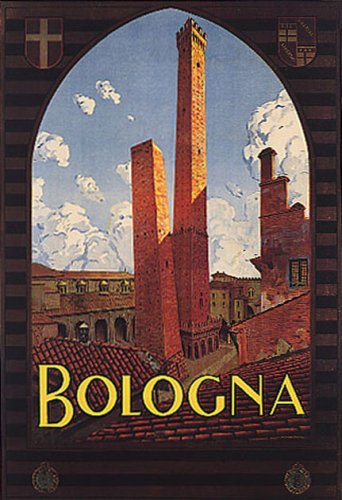 BOLOGNA LANDMARK THE TWO TOWERS TRAVEL TOURISM ITALY VINTAGE POSTER (Landmark Tower)