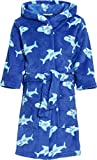 Playshoes Boys's Fleece Hooded Bathrobe Shark, Blue (Original), 9-10 years (134/140 cm)