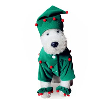 petbobo dog cat pet christmas tree costumes suit hoodies coat winter clothing apparel puppy outwear costume
