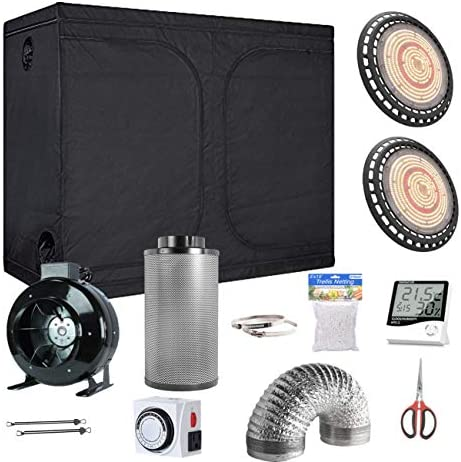 Oppolite Grow Tent Complete Kit, 2 X UFO 600W LED Grow Light 96 X48 X78 Grow Tent Room 8 Carbon Filter Hangers Hygrometer Shears 24 Hour Timer Trellis Netting Indoor for Indoor Plants