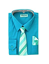 Turquoise Boys Fashion Solid Dress Shirt Tie and Hanky Set