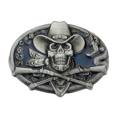 Skull Head Gun Crossed Vintage Gothic Punk Ghost Head Skull Men Leather Belt Buckle Lot Metal
