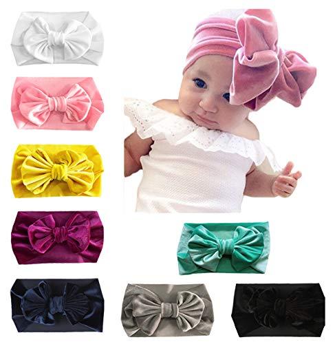 DANMY Baby Girl Nylon Headbands Newborn Infant Toddler Hairbands with Bows Children Hair Accessories (Pleuche Bow(8pcs))