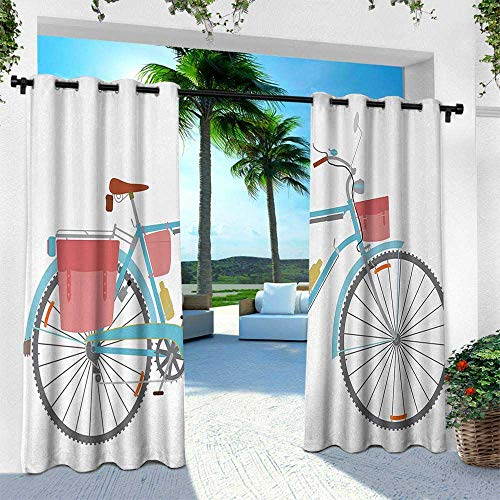 Bicycle, Outdoor Curtain Waterproof Rustproof Grommet Drape,Classic Touring Bike with Derailleur and Saddlebags Healthy Active Lifestyle Travel, W120 x L108 Inch, Multicolor ()